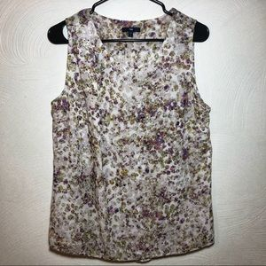 GAP sleeveless multi-colored floral top lined